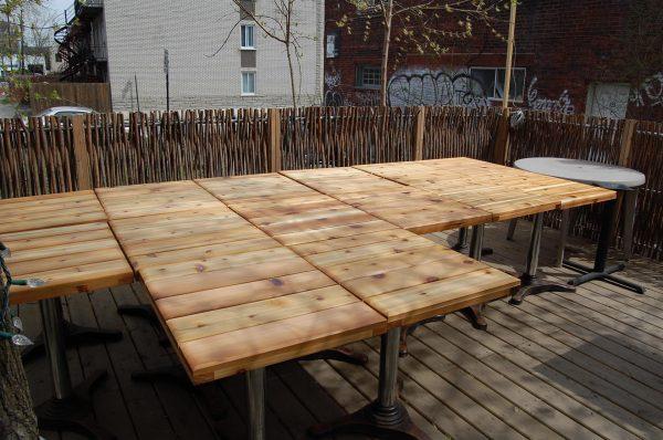 Dessus table cedre exterieur mobilier montreal matpel - Meubles exterieurs montreal ...