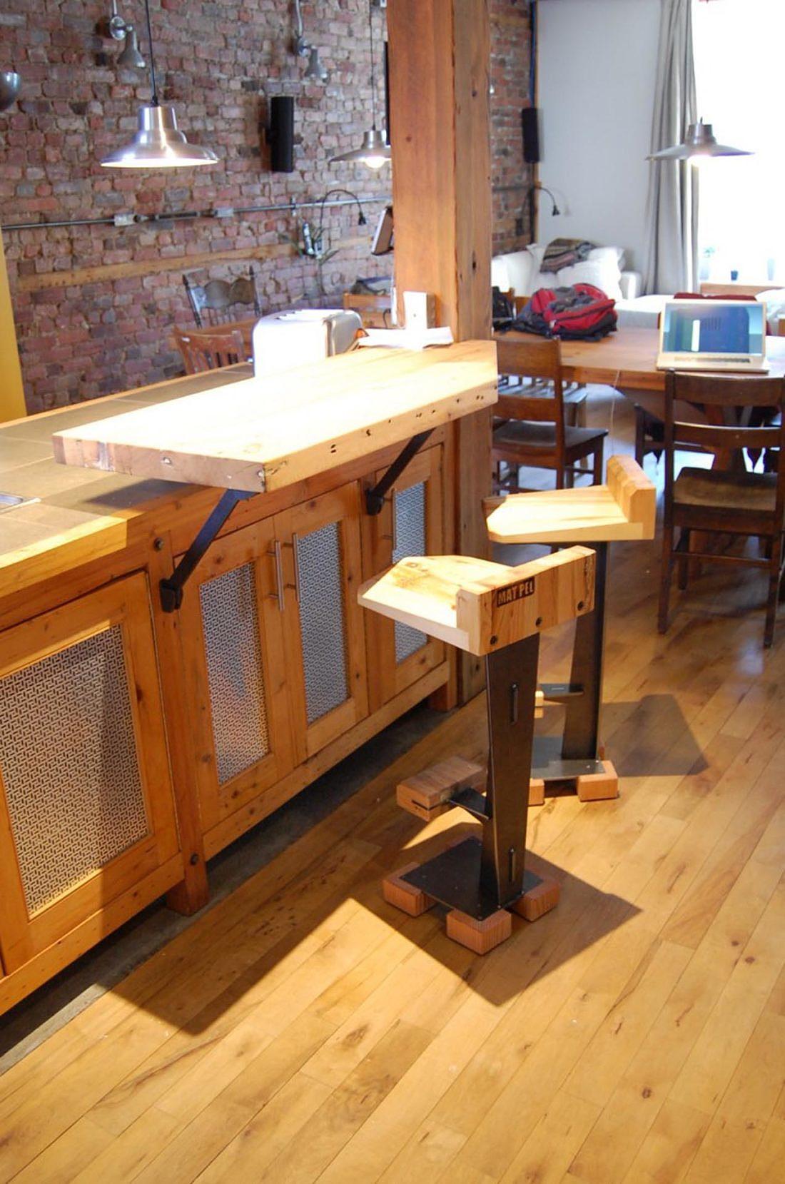 tabouret-design-bois-récupéré-acier-mobilier-Montréal